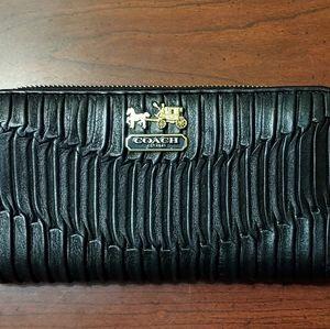 Coach Madison Gathered Leather Zip around Wallet